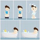 Bath toilet shower time salary man cartoon lifestyle illustration. Stock Photos
