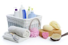Free Bath Toiletries Basket With Shower Gel Royalty Free Stock Photography - 12436117