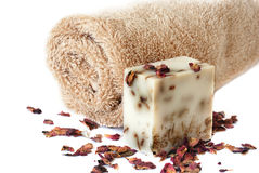 Bath towel and handmade soap Royalty Free Stock Photography