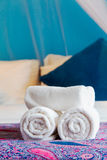 Bath towel in hotel room Stock Photography