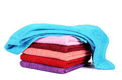 The bath towel isolated on white. Background royalty free stock photos