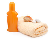 Bath towel with plastic bottle Stock Photography