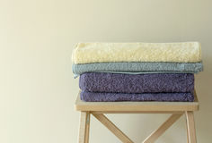 Bath towel on table Royalty Free Stock Photo