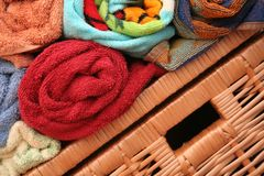 Bath towels. Set of colour bath towels Royalty Free Stock Image
