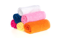 Bath towels. Six colorful bath towels on a white background Stock Photography
