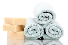 Bath Towels And Soap Royalty Free Stock Photography