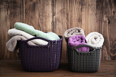 Bath towels of different colors Stock Photo