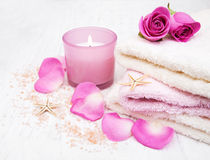 Bath towels with pink roses Royalty Free Stock Image