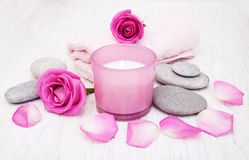 Bath towels with pink roses Stock Image