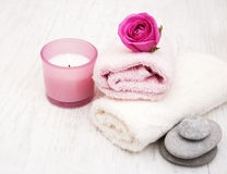 Bath towels with pink roses Stock Photo