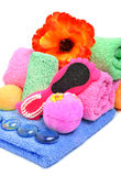 Bath towels, pumice, glass pebble and flower Royalty Free Stock Photo