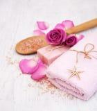 Bath towels, salt and soap Stock Photos