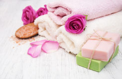 Bath towels, salt and soap Royalty Free Stock Photos