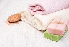 Bath towels, salt and soap Stock Photography