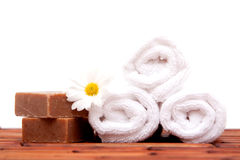 Bath towels and soaps Royalty Free Stock Photos