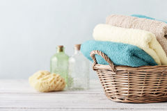 Bath towels and sponge Royalty Free Stock Image
