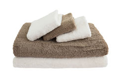 Bath towels in stack isolated Royalty Free Stock Image