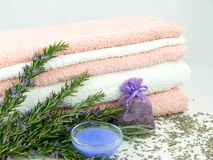 Free Bath Towels With Lavender Stock Photography - 18215832