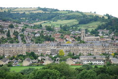 Bath town and countryside, Somerset. A scenic view of the eastern area of Bath, featuring the St Saviours church in the Lambridge area. Bath is a spa town in stock photo