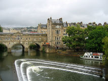 Bath Town, england. River and waterfall in bath, england royalty free stock image