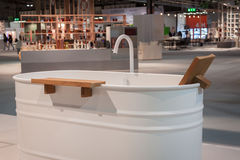 Bath tub on display at HOMI, home international show in Milan, Italy. MILAN, ITALY - SEPTEMBER 13: Bath tub on display at HOMI, home international show and point stock photo