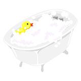 Bath Tub filled with Bubbles and Rubber Duck Royalty Free Stock Image