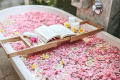 Bath tub with flowers and lemon slices. Bath tub with flower petals and lemon slices. Book and candles on a tray. Organic spa relaxation in luxury Bali outdoor stock image