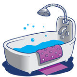 Bath Tub and Shower. Simple Bath Tub with Shower nozzle and water in it. Also has floor mat and slip mat vector illustration