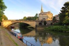 BATH, UK: Along the river Avon at sunset Stock Photography