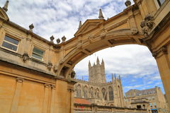 BATH, UK: The Bath Abbey with arcades in the foreground. The Bath Abbey with arcades in the foreground Royalty Free Stock Photo