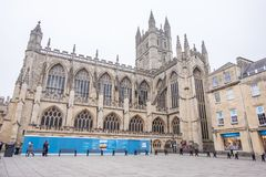 Bath Abbey in UK. Bath, UK - December 18, 2016: View of the The Abbey Church of Saint Peter and Saint Paul, Bath, commonly known as Bath Abbey in Somerset ,Bath Royalty Free Stock Photos