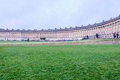 Crescent building in Bath, England. Bath, UK - December 18, 2016 : View of the  Circus, famous circular Royal Crescent building in Bath city ,United Kingdom Stock Photography