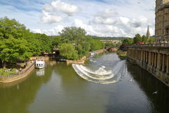 BATH, UK: View of river Avon from Pulteney Bridge Royalty Free Stock Images