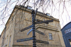 BATH, UNITED KINGDOM- DEC 10:  Tourist signpost in Bath, England Stock Images