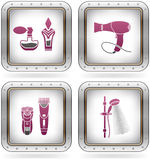 Bath Utensils. Bathroom Utensils and other related everyday things: Perfume, Eau de Toilette, Hair Dryer, Rotary Razor, Hair Clipper, Shower (part of the 2 Stock Photography