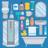 Bath vector equipment icons human body hygiene hower illustration for bathroom interior hygiene design. Isolated bath. Symbols of mirror, toilet sink shower Stock Images