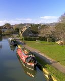 Bathampton Canal. Barges and Bathampton Canal stock images