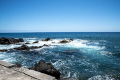 Bather platform near the fort of Sao Tiago in Funchal Madeira Royalty Free Stock Photos