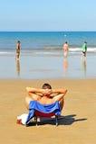 Bathers on the beach of Victoria, Costa de la Luz, Cadiz, Andalusia, Spain Stock Photos
