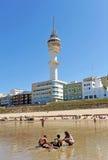 Bathers on the beach of Victoria, Costa de la Luz, Cadiz, Andalusia, Spain Royalty Free Stock Image