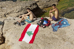 Bathers, Lebanon Stock Photography