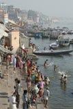 Varanasi, India, Hindu Bathers at River Ganges. Hindu worshipers bathing on banks of River Ganges in Varanasi, India stock photo