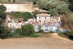 Bathers in the Terme di Saturnia, Italy Stock Photos