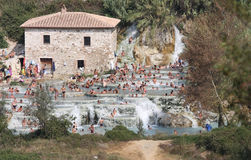 Bathers in the Terme di Saturnia, Tuscany, Italy Royalty Free Stock Image