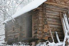 Bathhouse in de winter stock fotografie