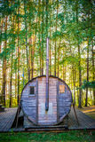Bathhouse in forest Stock Photos