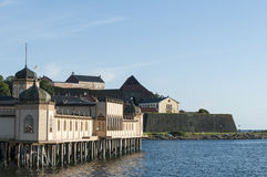 Bathhouse and fortress, Varberg Royalty Free Stock Photos