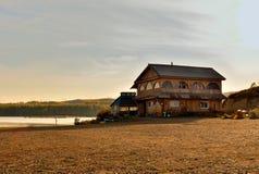 Bathhouse near the lake Vodop`yanikha royalty free stock photography