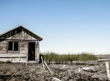 Bathhouse on the swamp. Abandoned building of a bathhouse at Dagi Sakhalin thermal source that looks like a real swampy wasteland Royalty Free Stock Photography