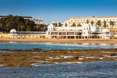 Bathhouse velho na praia 'do La Caleta', um da maioria de famou foto de stock royalty free